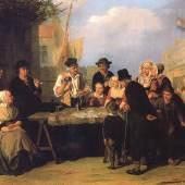 Jean J. Platteel, Jahrmarkt mit Becherspieler in einer flämischen Hafenstadt, 1876, Sammlung Volker und Christina Huber