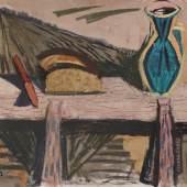"""Joachim Heuer """"Brot"""" (Stilleben mit blauer Vase, Brot und Messer). 1960er Jahre.  74,5 x 90 cm, Ra. 78,5 x 93,5 cm. 9500 €"""