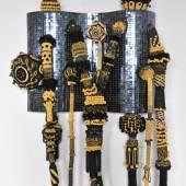 Gallery : Galerie Nathalie Obadia Title : Eldorado Artist : Joana Vasconcelos Date : 2013 Medium : Handmade glass mosaic, handmade wool crochet, ornaments, polyester, MDF, iron Courtesy : Courtesy of Galerie Nathalie Obadia Dimension : 240 x 150 x 40 cm
