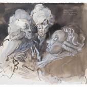 """Jochen Stücke: """"Gepudertes Geplauder""""; Tusche laviert, Farbstift, Gouache; 2009; 74 × 53,5 cm; © VG Bildkunst, Bonn 2014"""