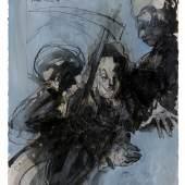"""Jochen Stücke: """"Mirabeau zwischen Krone und Konstituante""""; Tusche laviert, Farbstift, Gouache; 2009; 76,5 × 57,5 cm; © VG Bildkunst, Bonn 201"""