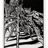 """Jochen Stücke: """"Notre Dame ist iher Geschichte überdrüssig und macht sich auf den Weg""""; Linolschnitt, 2008, 60 x 42 cm © VG Bildkunst, Bonn 2014"""