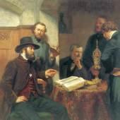 Johann Günther Gensler (1803 - 1884), Gruppenporträt von den Mitgliedern des Hamburger Künstlervereins, 1859, Foto SHMH, Hamburg Museum