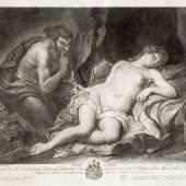 Johann Veit Kauperz (1741-1815), Venus und Satyr,  Schabblatt, 37,5 × 44,5 cm, © UMJ/Alte Galerie, Inv.-Nr. AG.K. 1654