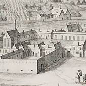 """Die Filiale des Bürgerspitals """"Johannes in der Siechenals"""" in der Gegend des heutigen Arne-Carlsson-Parks am Alsergrund diente als Pestlazarett. Ausschnit aus der Vogelschau von Folbert van Alten-Allen, um 1679, Wien Museum"""