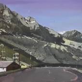 john harmer grey mountain 18cm x 27cm acrylic on water resistant board