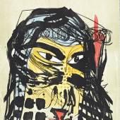 Jonathan Meese, HEILBUTTN'S DER KUNST (FORMZUCKI), 2006/11, Handkolorierte Lithographie auf Holzdruck, 75 x 56,50 cm. Kunsthalle Wilhelmshaven; © VG Bild-Kunst, Bonn 2015
