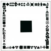 H + H Joos, Narrative Geometrismen, 1981, Schwarze Tusche auf Karton, 49 x 49 cm