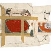 James Rosenquist Source and Preparatory Study for In the Red, 1962 Cropped magazine advertisement, paper, pencil, crayon, paint and masking tape, with adventitious marks, on paper 23.5 x 31.6 cm (9 1⁄4 x 12 1⁄2 in.) Photo: Peter Foe