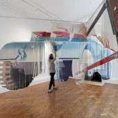James Rosenquist Forest Ranger, 1967 Oil on slit and shaped Mylar, Three panels (two intersecting and one freestanding) Each approx: 289.6 cm (114,02 in)