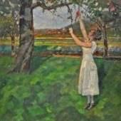 """BIZER Emil (1881 Pforzheim - 1957 Badenweiler) """"Apfelpflückerin"""" Frau in weißem Kleid unter dem Apfelbaum. Mindestpreis:1.800 EUR"""