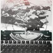 """Jürgen Haufe, Zu Heiner Kipphardts """"Bruder Eichmann,"""" 1983, Offsetlithografie, 78 x 57 cm; Foto: Gabriele Bröcker © Anne Haufe, Dresden"""