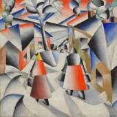 Morgen im Dorf nach dem Schneesturm Kasimir Malewitsch 1912 Leinwand, 80 x 80 cm © New York, Solomon R. Guggenheim Museum, New York
