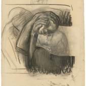 """Käthe Kollwitz (Königsberg 1867 – 1945 Moritzburg) """"Abschied"""". 1910 Kohle und Bleistift auf Bütten (Wasserzeichen: MBM France). 63 × 48,2 cm ( 24 ¾ × 19 in.).  Schätzpreis:200.000 - 300.000 EUR"""