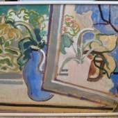 """Kamps, Heinrich, 1896 - 1954, Krefeld - Düsseldorf, """"Stillleben am Fenster"""", re.u.monogr., Mischtechnik/Papier, 97 x 75 cm, R. Aufrufpreis:150 EUR"""