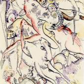 Wassily Kandinsky, Studie für Die apokalyptischen Reiter II, 1914, Aquarell und Tinte, Privatbesitz. © VG Bild-Kunst, Bonn 2014