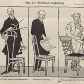 """KARIKATUR ÜBER DEN """"WERKBUNDSTREIT"""" 1914 Aus: """"Simplicissimus"""", 1914 (Heft 18), Seite 285 Bröhan-Museum, Berlin Foto: Archiv Bröhan-Museum, Berlin"""