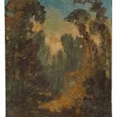 Carl Blechen, Abendliche Waldlandschaft. Um 1833- 1835.  Verso mit Resten alter Montierungen. Untersatzkarton mit Wasserfleckchen. 6,2 x 4,8 cm. 15000 €