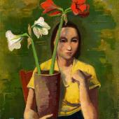 Karl Hofer Mädchen mit Amaryllis Um 1936 Öl auf Pappe 91 x 71cm Ergebnis: 204.800 Euro
