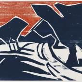 Karl Schmidt-Rottluff Weg mit Bäumen. 1911 Farbholzschnitt, 50 x 68 cm (19.6 x 26.7 in) € 5.100 Erstmals in farbiger Auflage