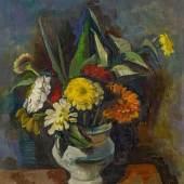 Karl Hofer (1878 – 1955) Blumenstrauß in grauer Vase (Zinnien) | 1933 | Öl auf Leinwand | 56 x 50,5 cm Taxe: 50.000 – 70.000 Euro