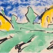 Karl Schmidt-Rottluff (Rottluff 1884 - 1976 Berlin) Kuenstlerpostkarte 'Zwei gelbe Haeuser', 1911, Ergebnis: € 36.000