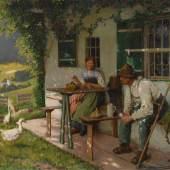 Rau, Emil: Paar vor der Almhütte. Öl/Leinwand, links unten signiert. Bauernpaar auf der Veranda des Hauses im Schatten der Kletterpflanzen beim Nähen und Limit: 3.600 €