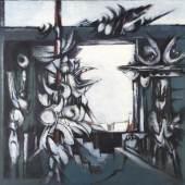 Kat-Nr.: 133  Hans Dahlem (Blieskastel 1928-2006 Blieskastel)  Komposition in Blau (Fensterausblick), 1967, Öl auf Leinwand Kat.-Preis: €1200