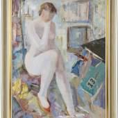 Kat-Nr.: 255  Fritz Zolnhofer (Wolfstein 1896-1965 Saarbrücken)  Sitzender weiblicher Akt mit roten Schuhen, Öl auf Holzplatte, ca. 75 x 59 cm,  Kat.-Preis: €800