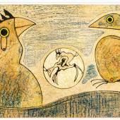 "1739 Ernst, Max 1891 Brühl - 1976 Paris. Farblithogr. ""Les Oiseaux"". Zwei Vögel. 1975. U.r. im Stein  sign. 1500 Exemplare. 34 x 60,5 cm. Pass. R. Lit.: 1,2,13,14. (3103107)400,-- EURO"