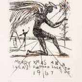 "1745 Dali, Salvador 1904 Figueras - 1989 ebd.Radierung, gold gehöht. Engel mit Lilie. ""Merry Xmas and Good  Luck to the Luca's for 1967"". U.r. mit Bleistift sign. U.l.  Epreuve d'artiste bez. (150 Exemplare). In der Pl. bet. 13 x 10  cm. R. Herausgegeben: Sidney Z Lucas, Phyllis Lucas Gallery. WVZ Michler/Löpsinger 145.Lit.: 1,2,13,14.7122004)450,-- EURO"