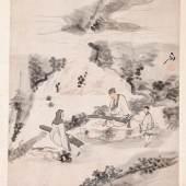 231 (ca. 1796 ‐ 1862) Leporello‐Album mit acht farbigen Tuschenzeichnungen. Landschafts‐ und Figurendarstellungen (min. Abriebe, fleckig), Aufschrift und rote Siegel. China, 19. Jh. Jeweils 30,5 x 26,5 cm.  500,00 €