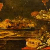 999 Nieulandt, Adriaen van attr. 1587 Antwerpen ‐ 1658 Amsterdam. Öl/Holz. Prächtiges Stillleben. Auf flacher Zinnschale getrocknete Früchte mit Mandeln,  800,00 €