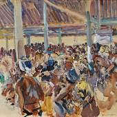 FAHRINGER, Carl 1874 – 1952 Skizze zum Hahnenkampf 1919   Auktion 22. April 2013 Gouache auf Papier, 35,1 x 49,6 cm € 5.000 – 10.000