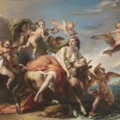 © copyright Paolo Antonacci (Orangerie) Francesco Podesti Ancona - Rome The Rape of Europa  1852 Öl auf Leinwand 86 x 120 cm.