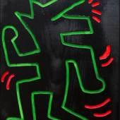 Keith Haring Ohne Titel, 1983 Leuchtfarbe und Lack auf Holz Privatbesitz, Wien © Keith Haring Foundation
