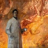 """913 MARR, CARL VON 1858 Milwaukee - 1936 München  """"Der Maler"""". Pius Ferdinand Messerschmitt im Malerkittel mit Pinsel und Farbe vor einem entstehenden Gemälde. Öl auf Leinwand. 155 x 176cm. Signiert unten rechts: Carl / Marr / München. Rahmen."""