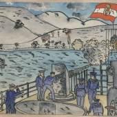 """""""Beschuss durch ein  österreichisches Kriegsschiff"""" Kinderzeichnung Graz, 1916"""