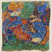 """€ 1.740.000* Aufruf: € 500 .000 Los 30: Ernst Ludwig Kirchner – """"Zwei mit Katze spielende Mädchen"""", beidseitig bemalt"""