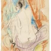 Ernst Ludwig Kirchner Selbstporträt mit Gerda (Mann und Sitzende im Atelier) Pastell, 1915, 67,4 x 52 cm / 26.5 x 20.4 inches Schätzpreis: € 400.000-600.000