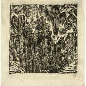 Ernst Ludwig Kirchner, Aus der Apokalypse, 1918, Holzschnitt, mpk - Graphische Sammlung. Foto: Gunther Balzer, Kaiserslautern