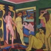 Ernst Ludwig Kirchner, Badende im Raum, 1909-1910 / nach 1926, Saarlandmuseum – Moderne Galerie Saarbrücken, Stiftung Saarländischer Kulturbesitz Foto: André Mailänder / Stiftung Saarländischer Kulturbesitz