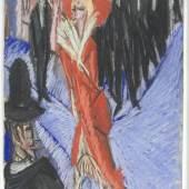 Ernst Ludwig Kirchner, Rote Kokotte, 1914, Farbkreide, Tempera, Weißhöhung, Papier (elfenbeinfarben), 30,2 x 41 cm, Staatsgalerie Stuttgart, Graphische Sammlung