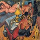 Ernst Ludwig Kirchner Erich Heckel und Otto Mueller beim Schach, 1913 Öl auf Leinwand, 35,5 × 40,5 cm Brücke-Museum, Berlin