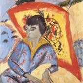 Ernst Ludwig Kirchner Erna mit Japanschirm (Japanerin), 1913 Öl auf Leinwand, 80 × 70,5 cm Aargauer Kunsthaus Aarau / Legat Dr. Othmar und Valerie Häuptli Foto: Jörg Müller