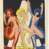 Ernst Ludwig Kirchner, Farbentanz, 1933/34, Farbholzschnitt, Papier (rohweiß), 40,8 x 56,5 cm, Staatsgalerie Stuttgart, Graphische Sammlung