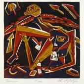 Klaus Süß, Pause oder Ikarus sein, 1987, Farblinolschnitt, (31 x 31) 35,7 x 35,5 cm; Foto: Gabriele Bröcker © Klaus Süß