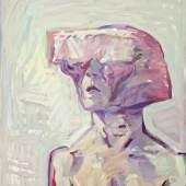 Maria Lassnig, Kleines Sciencefiction-Selbstporträt, 1995  Öl auf Leinwand Stiftung Kunsthalle Bern