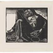 Käthe Kollwitz, Tod mit Frau im Schoß, 1920/21, Holzschnitt, Kn 165 © Käthe Kollwitz Museum Köln