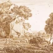 """Franz Kobell, Das Ideal der Natur, Bleistift, Feder und Pinsel, rücks. signiert und datiert: """"Franz Kobell f 1819"""", 16,5 x 24 cm. Foto: Galerie Fichter MohrenArtemotion.jpg"""